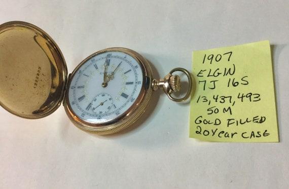 1907 Elgin Pocket Watch Gold Filled Hunting Case Fancy Dial 7J 16S 50mm 13,437,493 Running