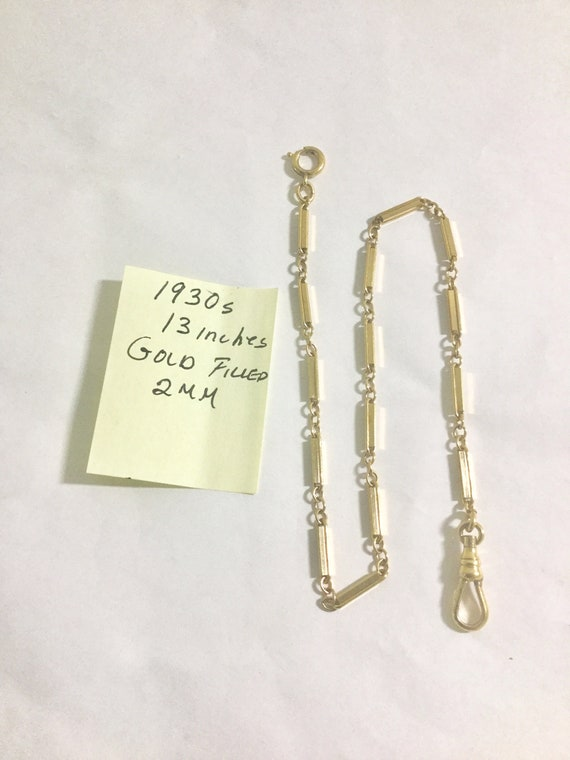 1930s Pocket Watch Chain Gold Filled 13 inches 2mm Nice Condition