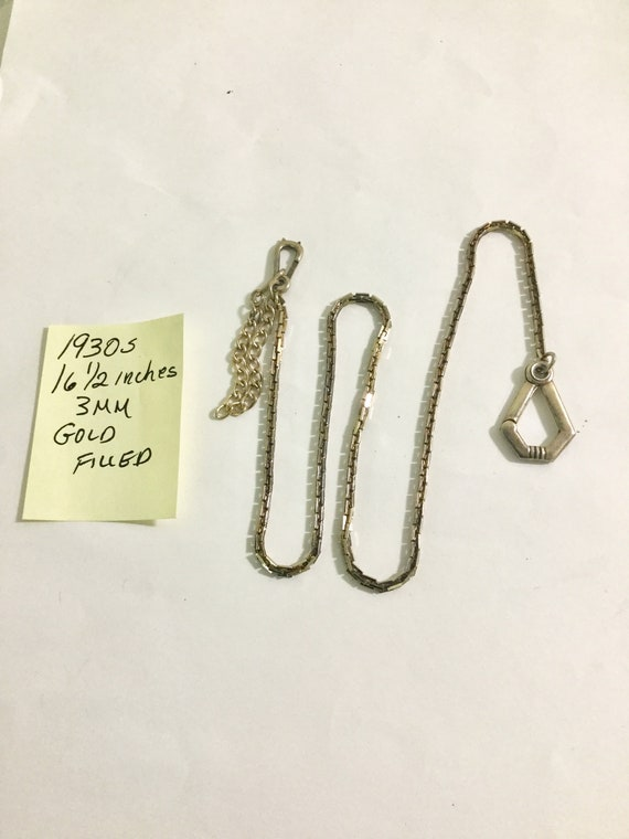 1930s Pocket Watch Chain 16 1/2 inches Gold Filled 3mm