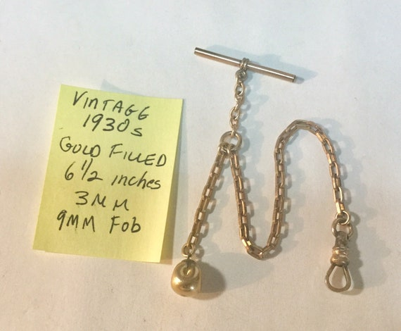 Vintage 1930s Gold Filled Pocket Watch Chain with T Bar and Fob 6 1/2 inches 3mm 9mm Fob