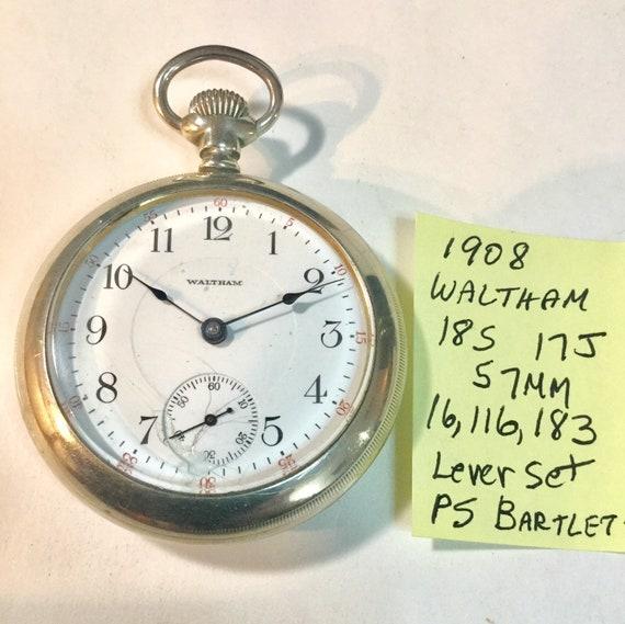 1908 Waltham Pocket Watch 17J 18S 57mm LS PS Bartlett 16,116,183 Running