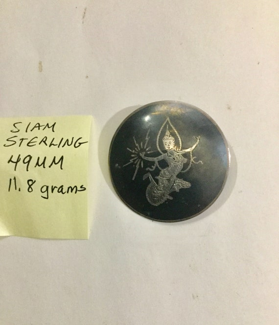 1950s Siam Sterling Silver Brooch 49mm 11.8 grams