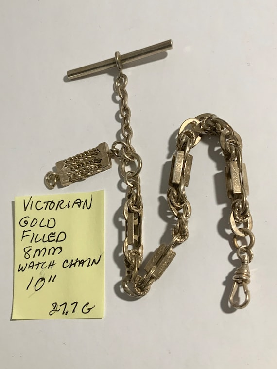 "Victorian Pocket Watch Chain Gold Filled 10"" 8mm 27.7gr"