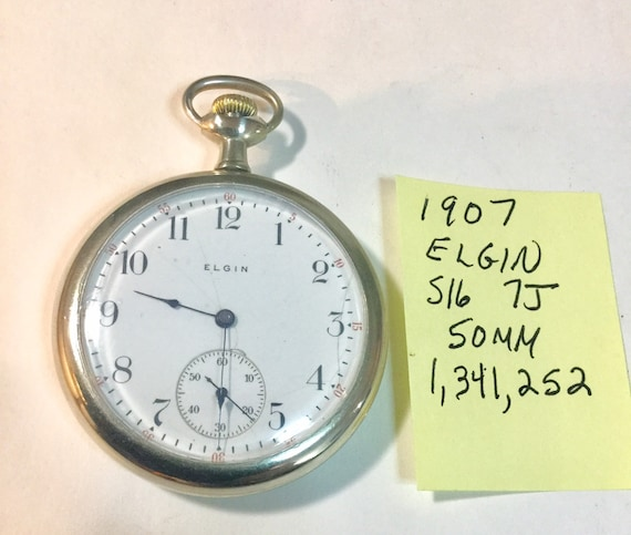1907 Elgin Pocket Watch 7J 16S 50mm Running 1,341,252