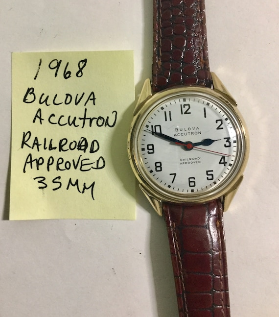 1968 Bulova Accutron Railroad Approved Wristwatch 214 Back Set with Bulova Buckle 35mm