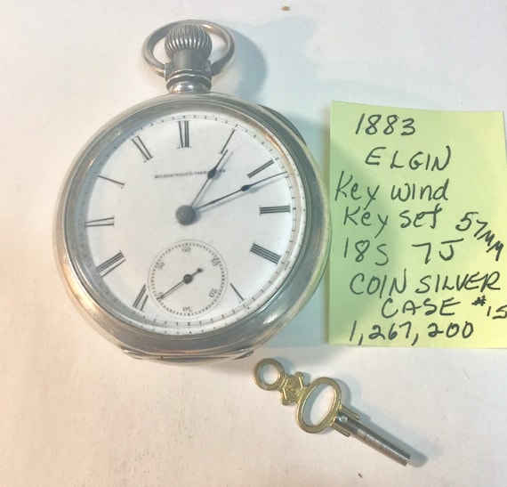 1883 Elgin Pocket Watch Key Wind Key Set 7J 18S Coin Silver Case 57mm 1,267,200 Running