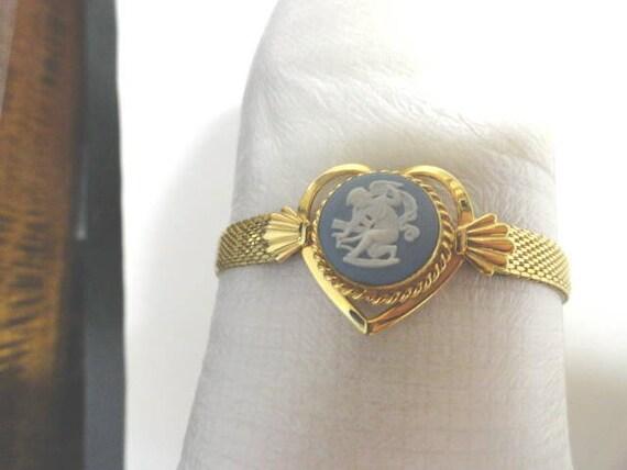 Vintage 1950s Kestenmade Gold Filled Wedgewood Cupid Bracelet 7 Inches