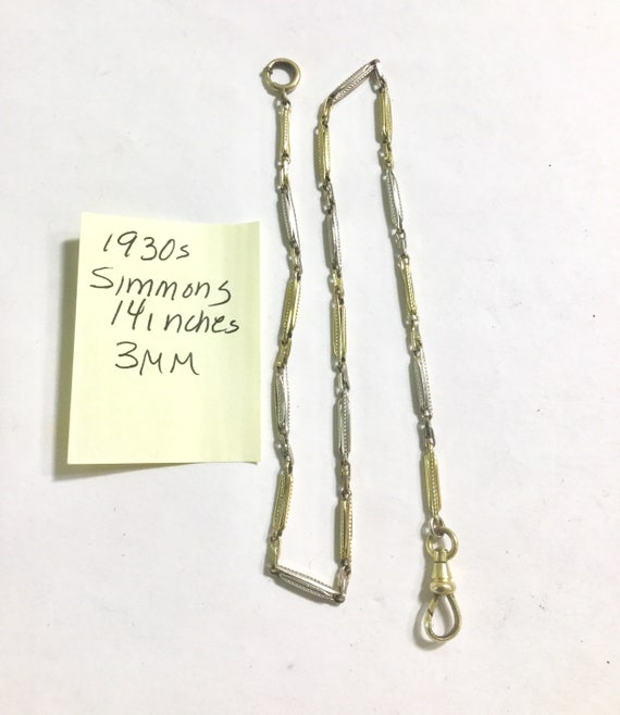 1930s Simmons Gold Filled Pocket Watch Chain 14 inches 3mm