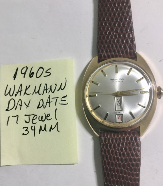 1960s Wakmann Day Date 17J Mens Wristwatch 34mm Running