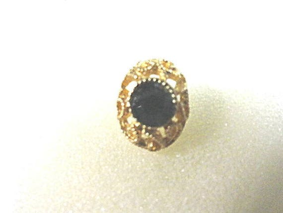 Vintage Tie Tack Fancy Gold Tone with Dark Green Rhinestone 1//2 inch by 3/4 inch