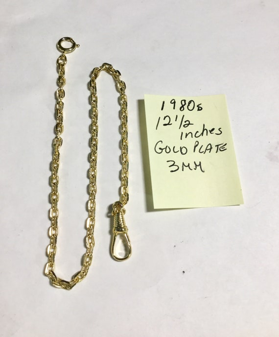 1980s Pocket Watch Chain 12 1/2inches 3mm Gold Plate