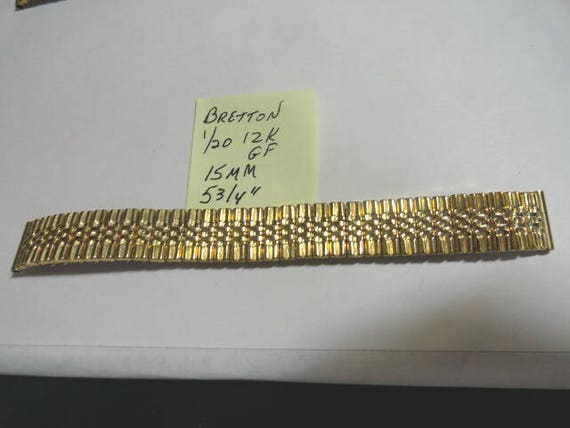 Vintage 1940s  Bretton Gold Filled Expansion Band  15mm Ends % 3/4 Inches long