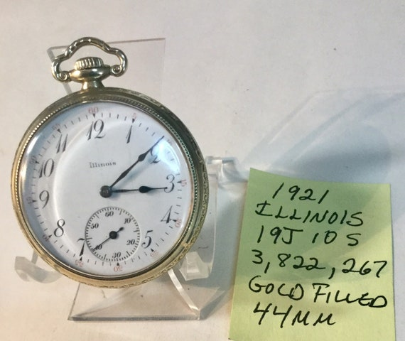 1921 Illinois Pocket Watch 19J 10S Gold Filled Case 44mm Running  3,822,267