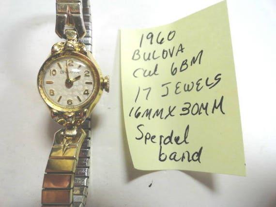 1960 Lady's Bulova Hand Wind Wrist Watch for Parts or Repair 17 Jewel Caliber 6BM