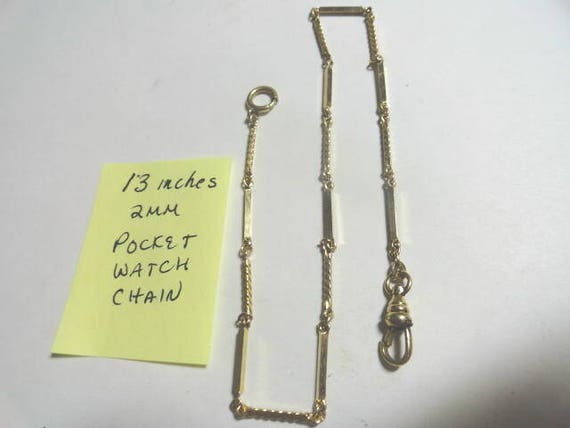 Vintage 1950s Gold Tone Pocket Watch Chain 13 inches 2mm
