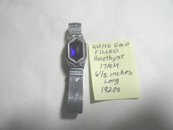 1920s White Gold Filled Watch Case and Band with Amethyst Insert 6 1/2 inches long 17mm