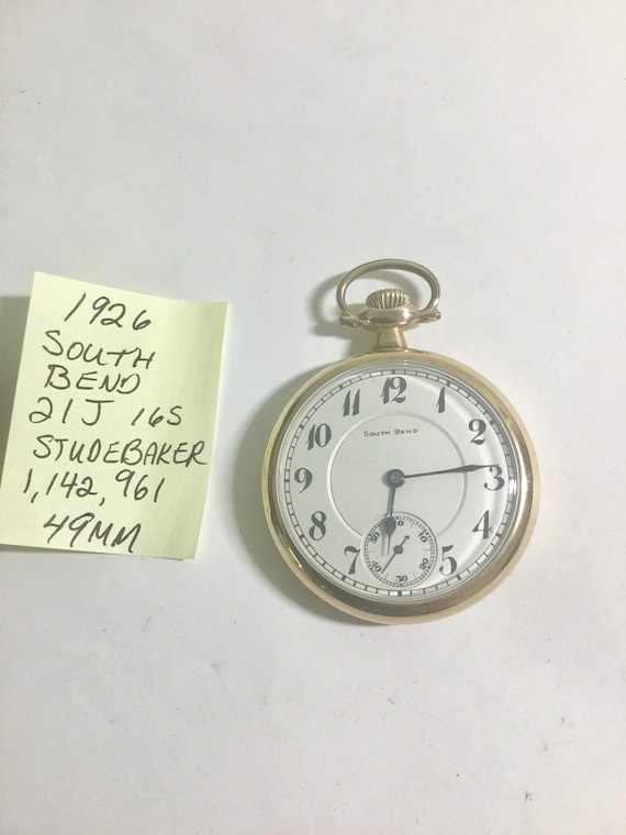 1926 South Bend Studebaker Pocket Watch Gold Filled Case 21J  8 Adj Size 16 49mm Running