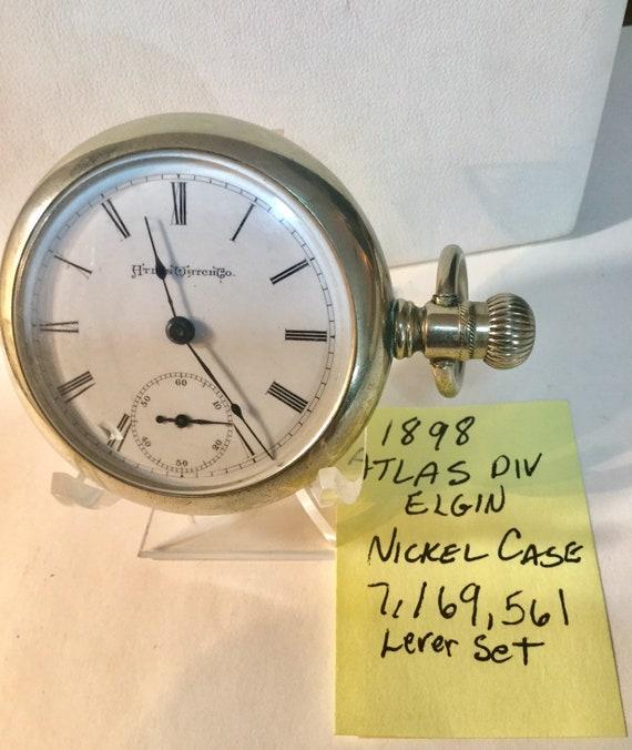 1898 Atlas Watch Co 7J 18S Nickel Case Lever Set Running 56mm 7,169,561