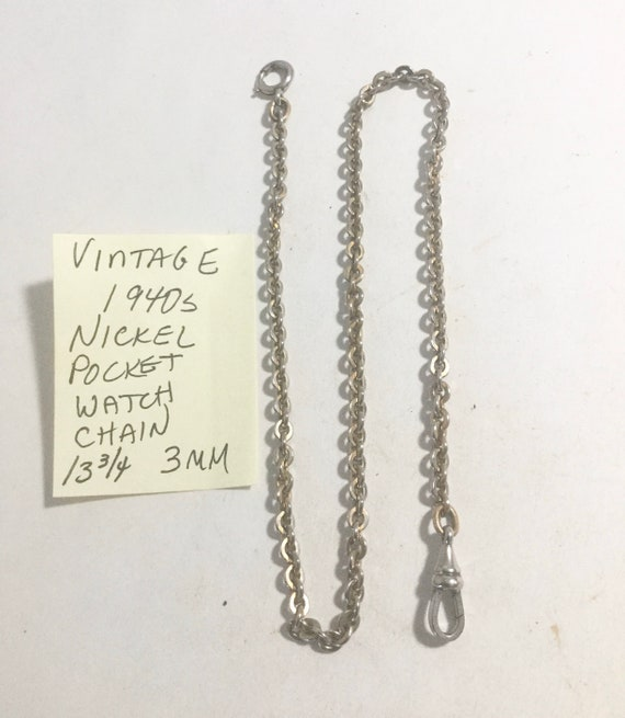 "Vintage 1940s Nickel Pocket Watch Chain 13 3/4"" 3mm"