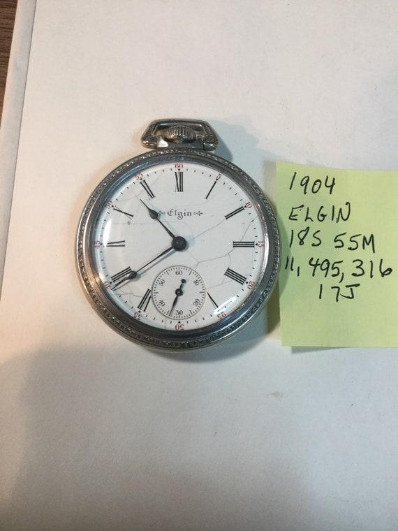 1904 Elgin Pocket Watch 17 Jewel Adjusted Running 18 Size 55mm 11,495,316