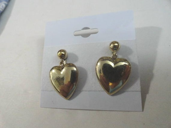 Vintage Screw back Heart Earrings 1/20 12K GF  1 Inch by 5/8 inch