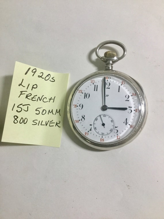 1920s LIP 800 Silver 15 Jewel Pocket Watch 50mm   Running Made in France