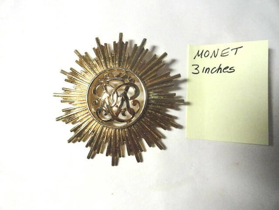 Vintage 1960s Monet Gold Tone Brooch Pin 3 Inches