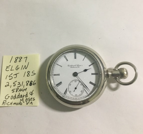 1887 Elgin Pocket Watch 15J 18S 58mm Goddard & Moses Richmond Va