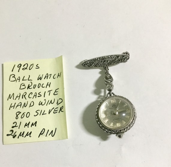 1920s Ball Watch Brooch 800 Silver Marcasite Hand Wind 21mm ball 26mm pin 2 inches long