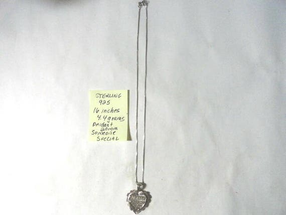 1980s Sterling Silver 925 Someone Special Pendant with 16 inch Chain