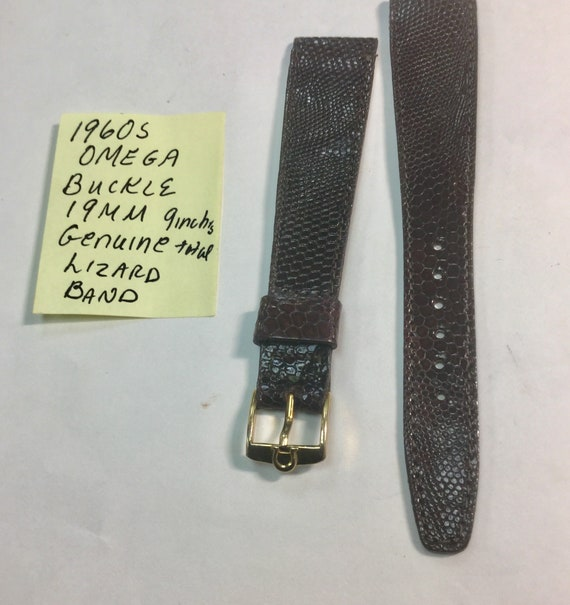 1960s Omega Buckle with 19mm Genuine Lizard Band 9 inches total