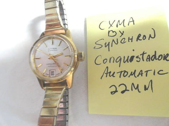 Vintage 1960s Cyma by Synchron Conquistador Automatic  Gold Plaque Case Screwback 22mm Running