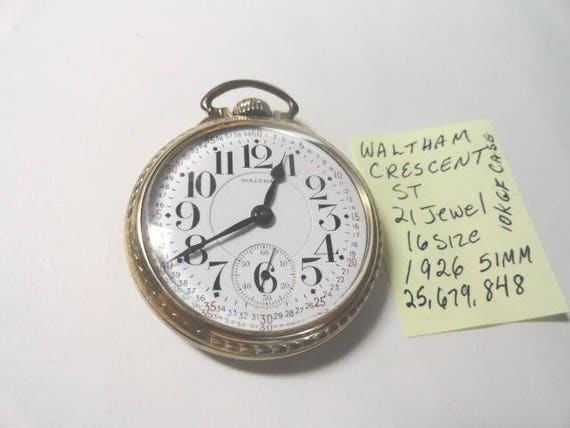 1926 Waltham Crescent Street 21 Jewel Pocket Watch 16 Size Lever Set 10K Gold Filled Waltahm Case 51mm