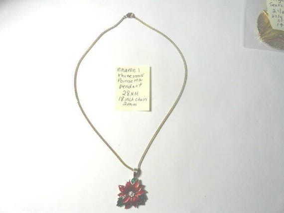 1970s Enamel Rhinestone Poinsettia Pendant 28mm with 18 inch gold tone chain 2mm