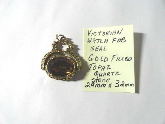 Victorian Gold Filled Watch Fob Seal Topaz 29mm by 32mm