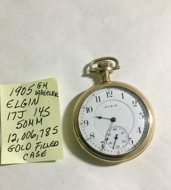 1905 Elgin GM Wheeler Pocket Watch 17J 14S 50mm Gold Filled Case
