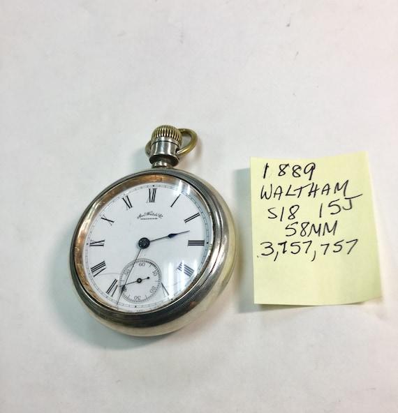 1889 Waltham Pocket Watch 15J 18S 58mm