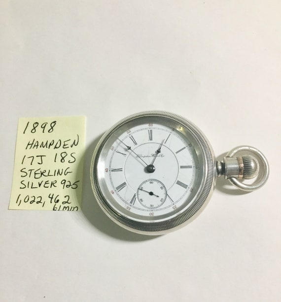 1898 Hampden Pocket Watch 17J 18S Sterling Silver Case 61mm Running