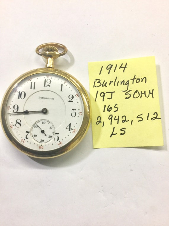 1914 Burlington Pocket Watch 19J 16S Gold Filled Burlington Case Running 2,942,512