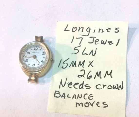 Vintage 1950s Ladys Longines Hand Wind 17 Jewel Wrist Watch For Parts or Repair 15mm by 26mm