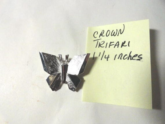 Vintage Crown Trifari Silver Tone Butterfly Brooch Pin  1 1/4 inches