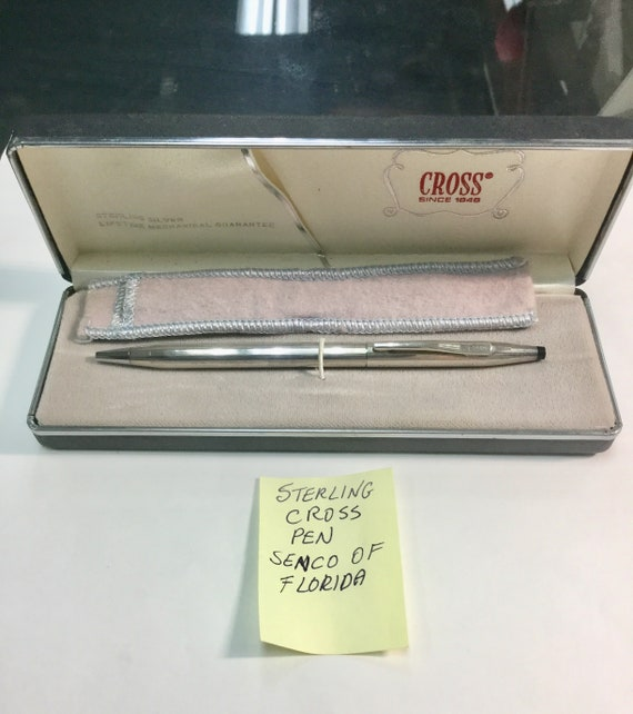 1960s Sterling Silver Cross Ball Point Pen Senior Presentation with box