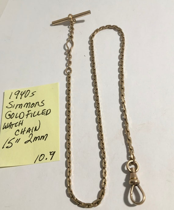 """1940s Simmons Gold Filled Pocket Watch Chain 15"""" 2mm 10.9gr"""