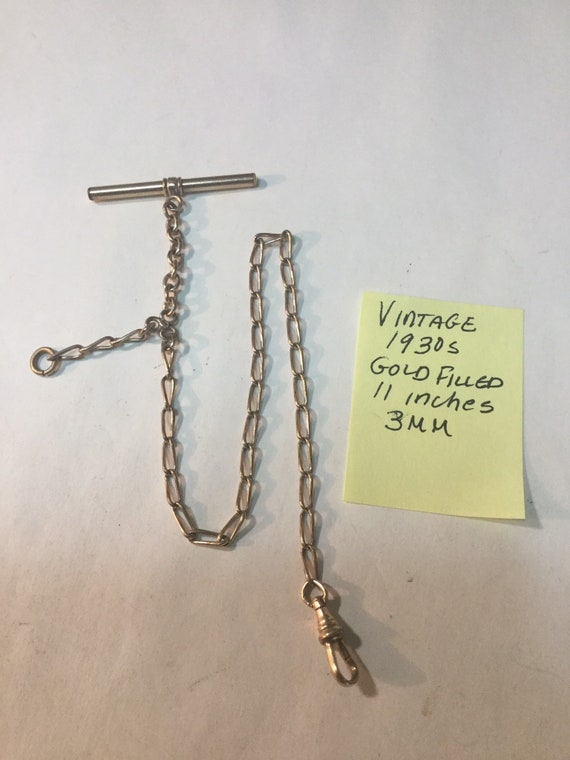 Vintage 1930s Gold Filled Pocket Watch Chain 11 Inches 3mm