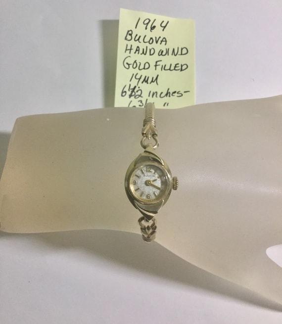 1964 Ladys Bulova Hand Wind Wristwatch Gold Filled 14mm