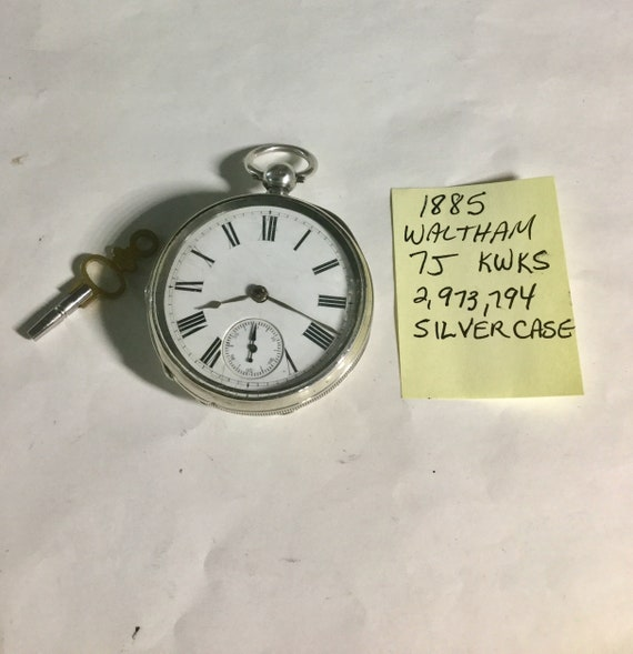 1885 Waltham Pocket Watch Key Wind Key Set Silver Case 7J 14S 49mm