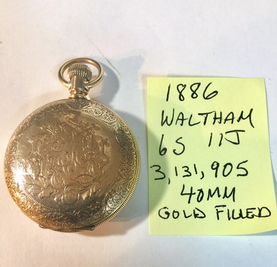 1886 Waltham Pocket Watch Gold Filled Hunting Case 6S 11J 40mm 3,131,905 Running