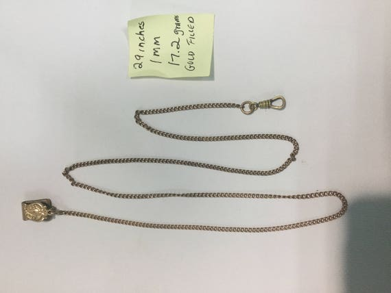 1930s Gold Filled Pocket Watch Chain 29 inches 1mm