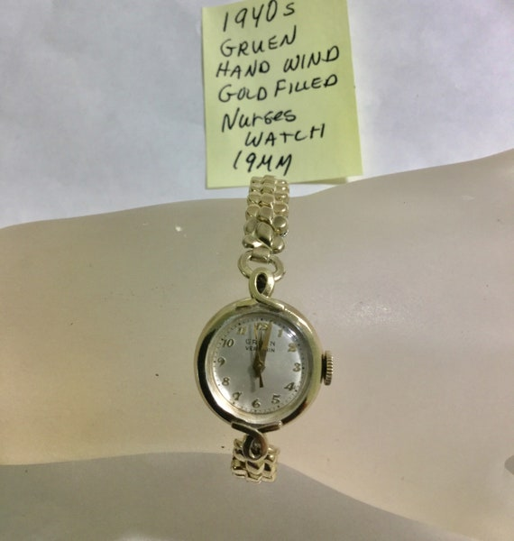 1940s Gruen Ladys Hand Wind Nurses Watch Gold Filled with Expansion Band 19mm Running