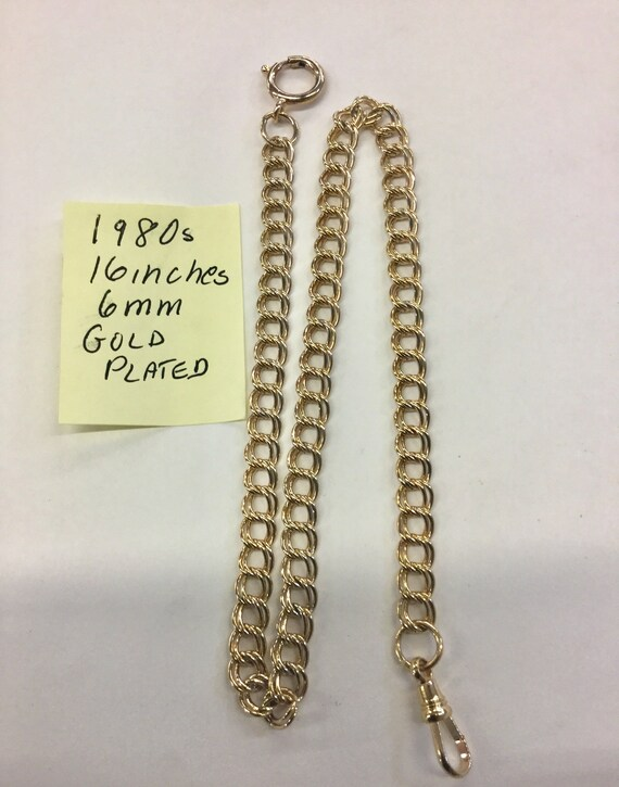 1980s Pocket Watch Chain 16 inched 6mm Gold Plated